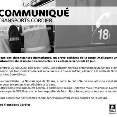 Communiqué – Accident routier du vendredi 26 juin 2020