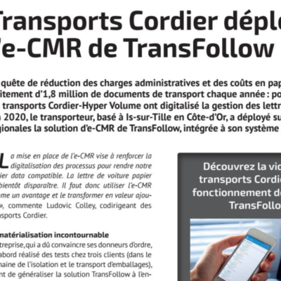 [Médias] TRM 24 – Transports Cordier déploie l'E-CMR de Transfollow
